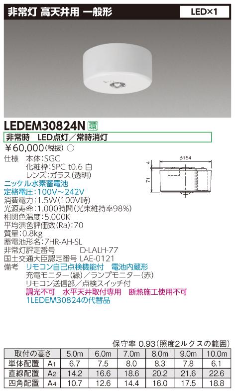 東芝ライテック 施設照明非常用照明器具 高天井用 直付30形 LEDリモコン自己点検機能付 非調光LEDEM30824N