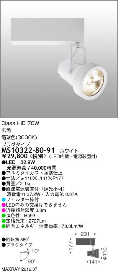 マックスレイ 照明器具基礎照明 GEMINI-L LEDスポットライト広角 プラグタイプ HID70Wクラス電球色(3000K) 非調光MS10322-80-91