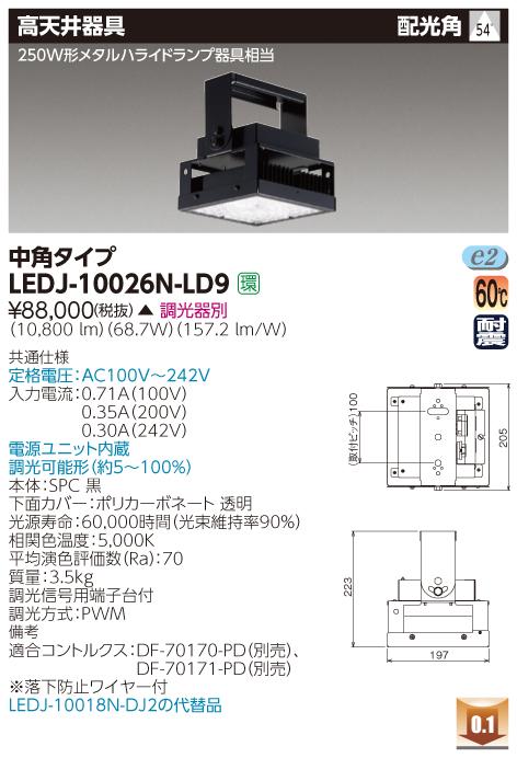 東芝ライテック 施設照明LED高天井器具 昼白色 角形シリーズ 中角タイプ250W形メタルハライドランプ器具相当LEDJ-10026N-LD9