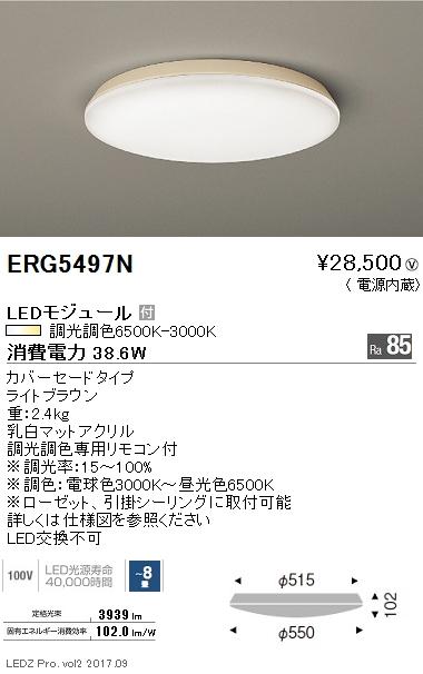 【9/4 20:00~9/11 1:59 エントリーとカードでポイント最大34倍】ERG5497N遠藤照明 施設照明 LEDシーリングライト 調光調色 カバーセードタイプ ERG5497N 【~8畳】