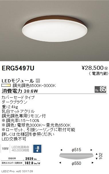【9/4 20:00~9/11 1:59 エントリーとカードでポイント最大34倍】ERG5497U遠藤照明 施設照明 LEDシーリングライト 調光調色 カバーセードタイプ ERG5497U 【~8畳】