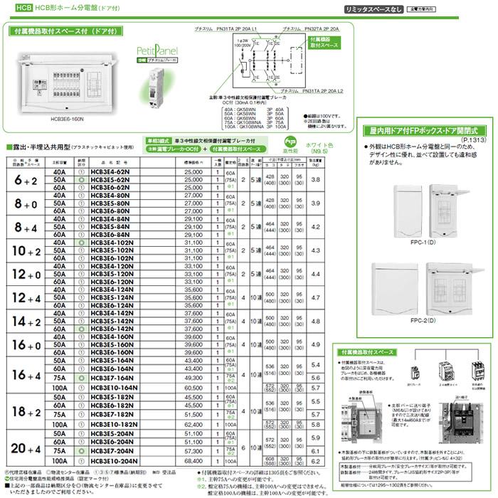 日東工業 ホーム分電盤HCB形ホーム分電盤 ドア付リミッタスペースなし付属機器取付スペース付露出・半埋込共用型 主幹3P50A 分岐10+2HCB3E5-102N