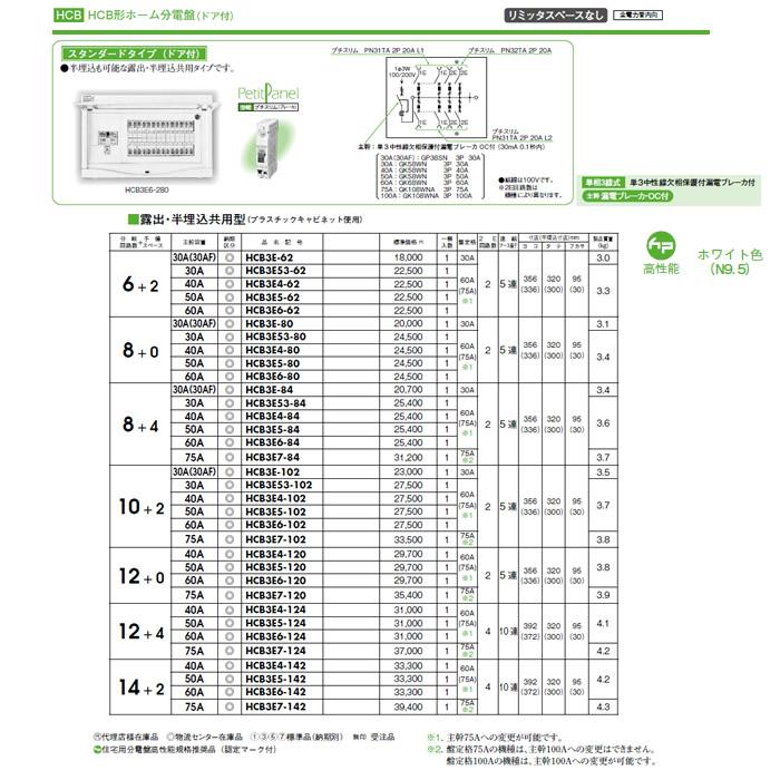 日東工業 ホーム分電盤HCB形ホーム分電盤 ドア付リミッタスペースなし スタンダードタイプ露出・半埋込共用型 主幹3P30A 分岐6+2HCB3E53-62