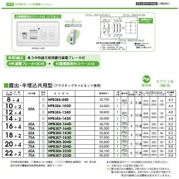 日東工業 ホーム分電盤HPB形ホーム分電盤 ドアなしリミッタスペースなし付属機器取付スペース×2露出・半埋込共用型 主幹3P60A 分岐10+2HPB3E6-102D