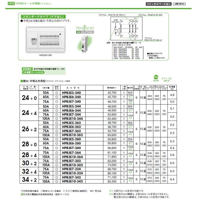 日東工業 ホーム分電盤HPB形ホーム分電盤 ドアなしリミッタスペースなし スタンダードタイプ露出・半埋込共用型 主幹3P60A 分岐26+2HPB3E6-262