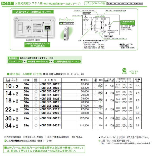 日東工業 太陽光発電システム用 HCB形ホーム分電盤 一次送りタイプ(ドア付)リミッタスペース付 露出・半埋込共用型主幹3P60A 分岐22+2HCB13E6-222S1