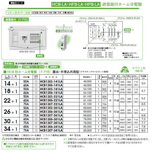 日東工業 避雷器付 HCB形ホーム分電盤(ドア付)リミッタスペース付 露出・半埋込共用型主幹3P75A 分岐34+1HCB13E7-341LA