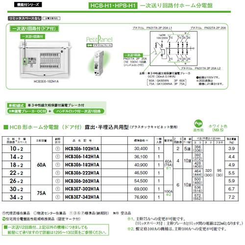 日東工業 一次送り回路付 HCB形ホーム分電盤(ドア付)リミッタスペースなし 露出・半埋込共用型主幹3P60A 分岐10+2HCB3E6-102H1A