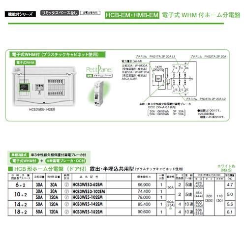 日東工業 ホーム分電盤電子式WHM付ホーム分電盤リミッタスペースなし HCB形ホーム分電盤ドア付 露出・半埋込共用型 主幹3P30A 分岐10+2HCB3WE53-102EM