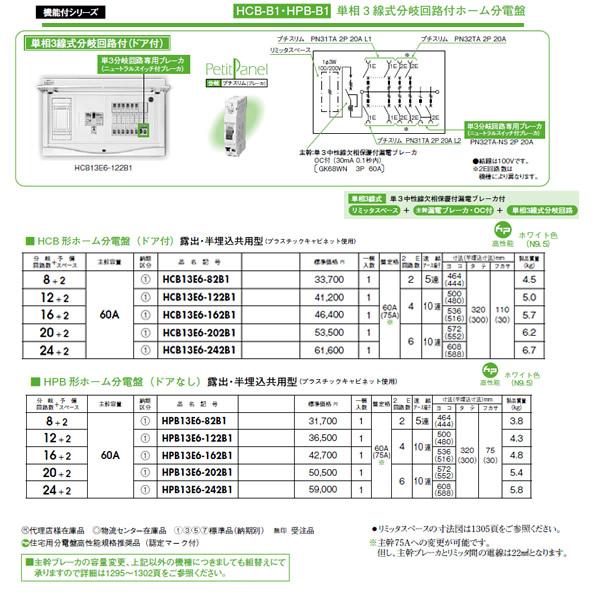 日東工業 ホーム分電盤単相3線式分岐回路付ホーム分電盤リミッタスペース付 HPB形ホーム分電盤ドアなし 露出・半埋込共用型 主幹3P60A 分岐20+2HPB13E6-202B1