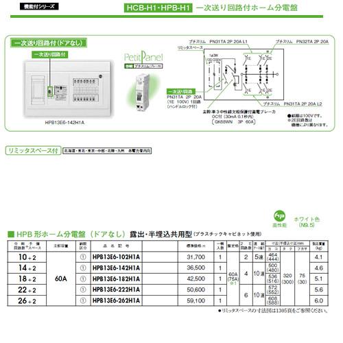 日東工業 一次送り回路付 HPB形ホーム分電盤(ドアなし)リミッタスペース付 露出・半埋込共用型主幹3P60A 分岐22+2HPB13E6-222H1A