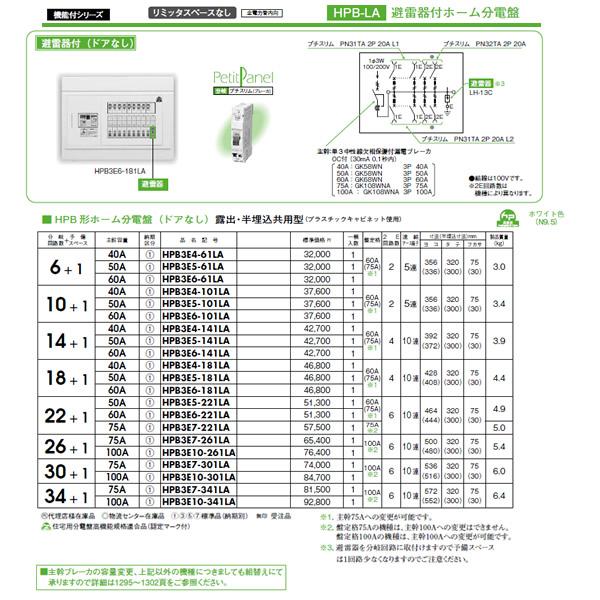 日東工業 避雷器付 HPB形ホーム分電盤(ドアなし)リミッタスペースなし 露出・半埋込共用型主幹3P50A 分岐6+1HPB3E5-61LA
