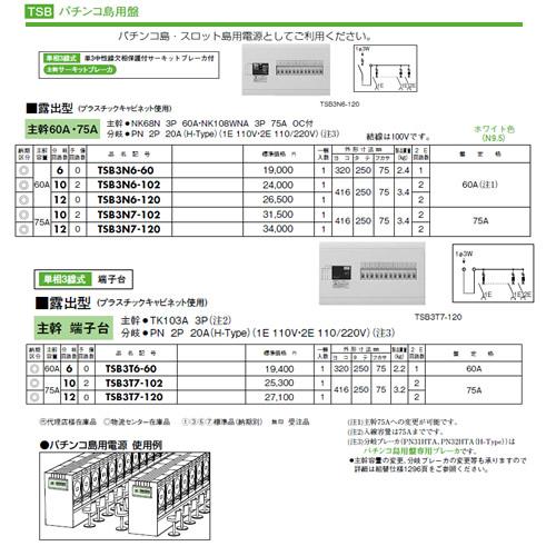 日東工業 ホーム分電盤パチンコ島用盤 露出型 主幹:端子台TSB3T7-102