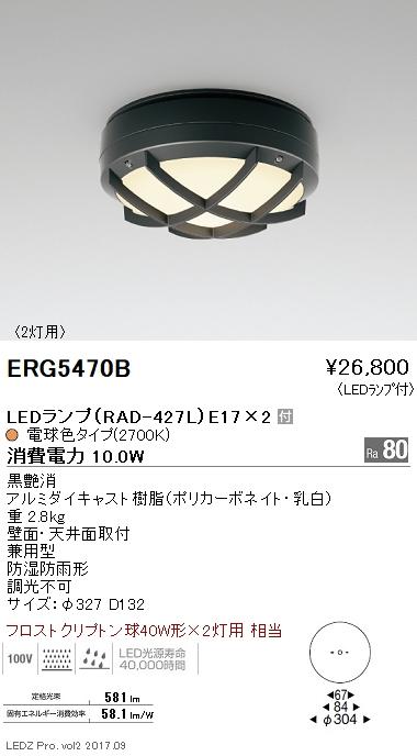 【8/25は店内全品ポイント3倍!】ERG5470B遠藤照明 施設照明 LEDアウトドアシーリングライト STYLISH LEDZシリーズ 軒下用 フロストクリプトン球40W形×2灯用相当 電球色 ERG5470B