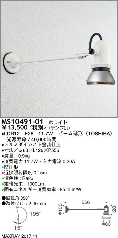 マックスレイ 照明器具屋外照明 LEDロングアームスポットライトMS10491-01