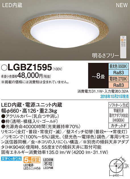 パナソニック Panasonic 照明器具LEDシーリングライト スタンダード調色調光タイプLGBZ1595【~8畳】