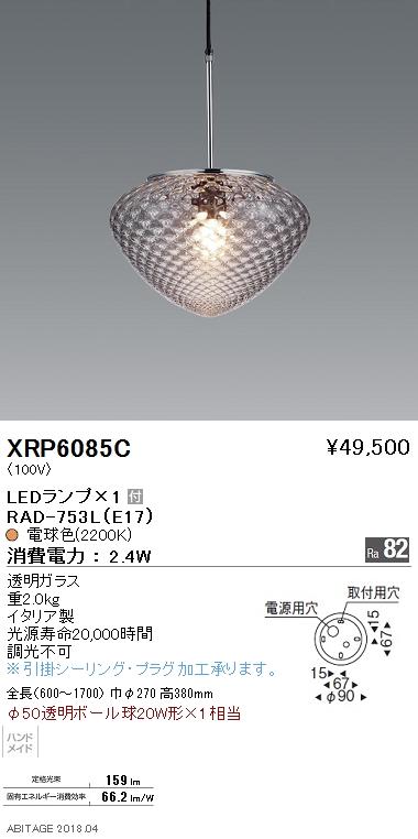 遠藤照明 照明器具AbitaExcel LEDペンダントライト電球色 φ50透明ポール球20W形×1相当XRP6085C