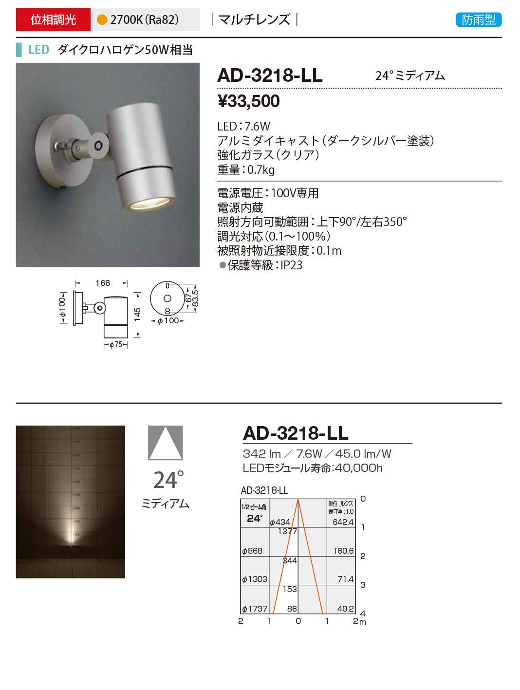 山田照明 照明器具エクステリア LED一体型スポットライト ディマブル75調光 マルチレンズ 防雨型 ミディアムダイクロハロゲン50W相当 電球色AD-3218-LL
