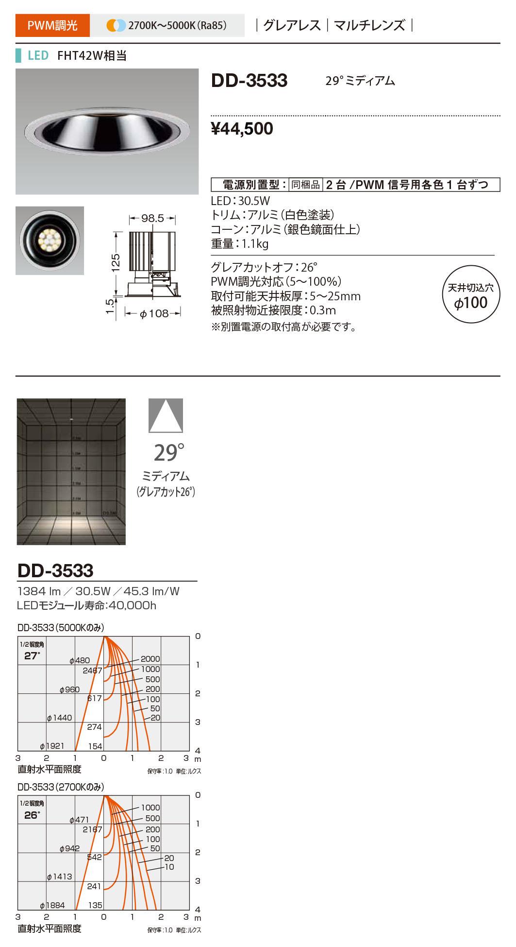 ベースタイプ Morph 山田照明 マルチレンズ グレアレス FHT42W相当DD-3533 100調光・調色 照明器具LED一体型ダウンライト