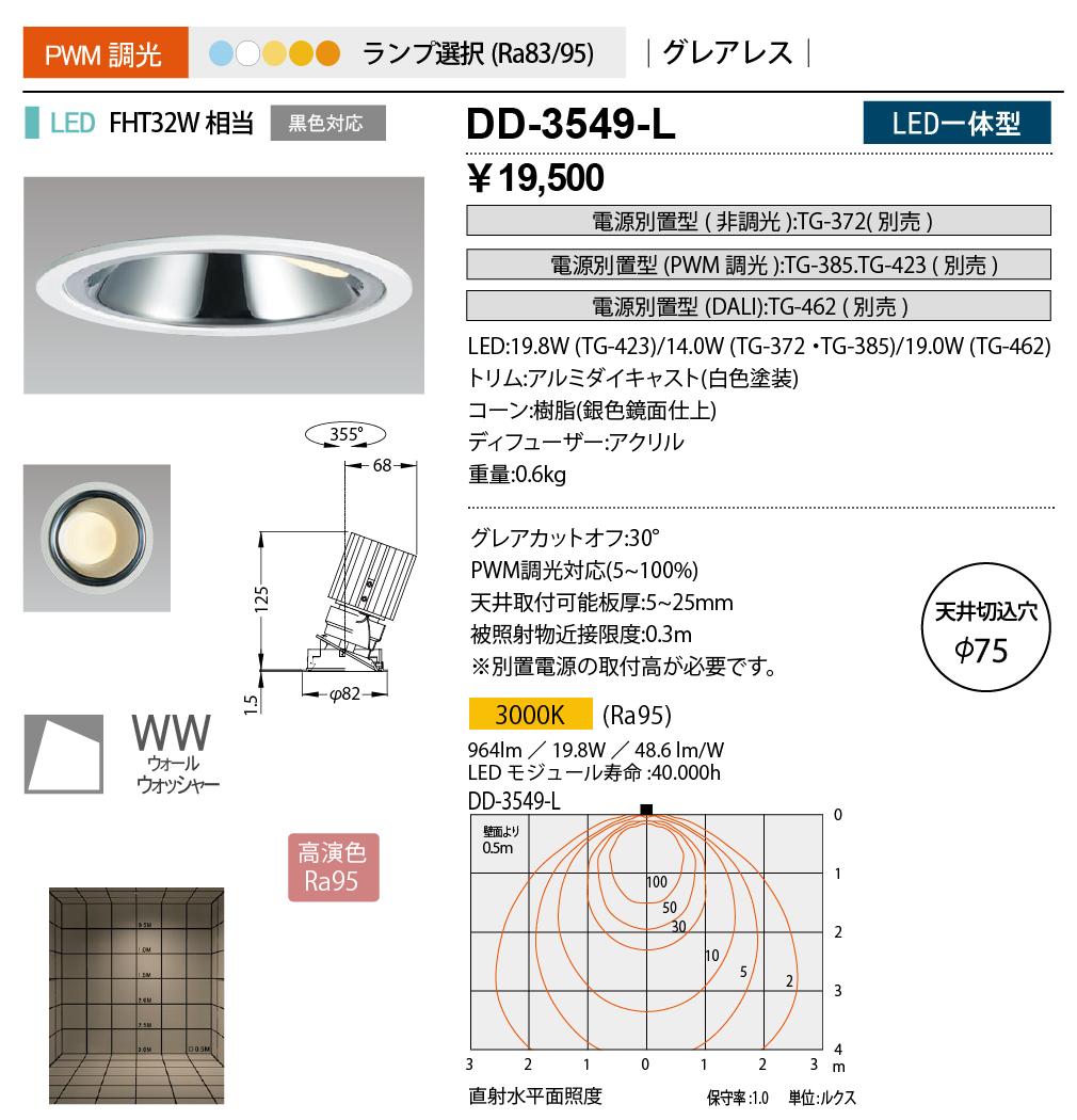 山田照明 照明器具LED一体型ダウンライト ウォールウォッシャー Unicorn NEO 75調光 グレアレス 高演色 FHT32W相当 電球色DD-3549-L