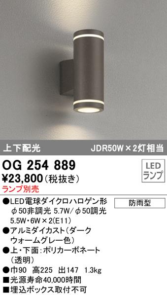 OG254889エクステリア LEDポーチライト上下配光 防雨型オーデリック 照明器具 玄関・エントランス 屋外用