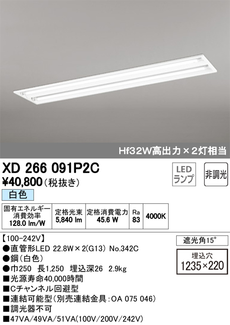 XD266091P2CLED-TUBE 高効率直管形LEDランプ専用ベースライト埋込型 40形 下面開放型 2灯用 3400lmタイプ非調光 白色 Hf32W高出力相当オーデリック 施設照明 商業施設 天井照明