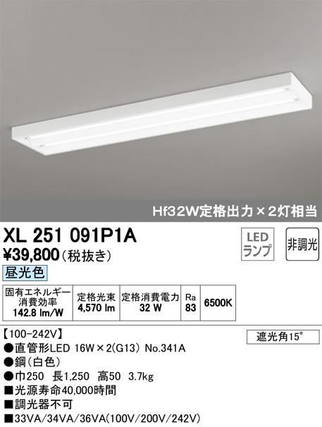 XL251091P1ALED-TUBE 高効率直管形LEDランプ専用ベースライト直付型 40形 下面開放型 2灯用 2500lmタイプ非調光 昼光色 Hf32W定格出力相当オーデリック 施設照明 商業施設 天井照明