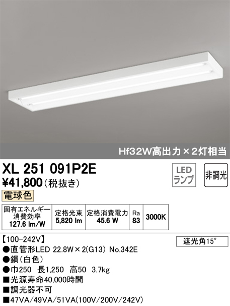 XL251091P2ELED-TUBE 高効率直管形LEDランプ専用ベースライト直付型 40形 下面開放型 2灯用 3400lmタイプ非調光 電球色 Hf32W高出力相当オーデリック 施設照明 商業施設 天井照明