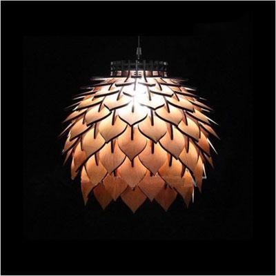 アジアン照明 おしゃれなデザインの照明器具木製シェード付き ペンダントライト 吊下げ 天井照明 リビング・ダイニング向けT-BLAND D344