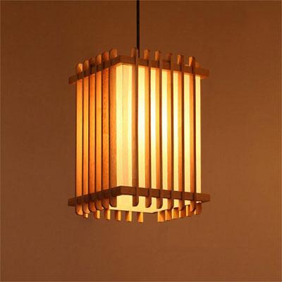 アジアン照明 おしゃれなデザインの照明器具木製シェード付き ペンダントライト 吊下げ 天井照明 リビング・ダイニング向けT-BLAND D836