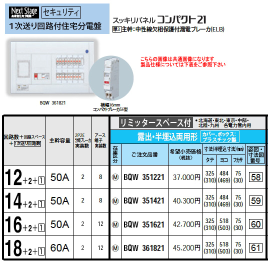パナソニック Panasonic 電設資材住宅分電盤・分電盤1次送り回路付住宅分電盤BQW361821
