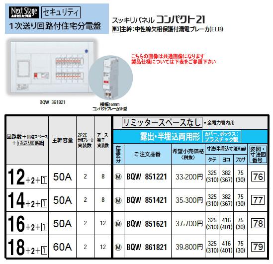 パナソニック Panasonic 電設資材住宅分電盤・分電盤1次送り回路付住宅分電盤BQW861821
