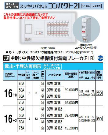 パナソニック Panasonic 電設資材住宅分電盤・分電盤スッキリパネル コンパクト21BQW3716