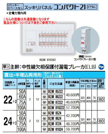パナソニック Panasonic 電設資材住宅分電盤・分電盤スッキリパネル コンパクト21BQW81024