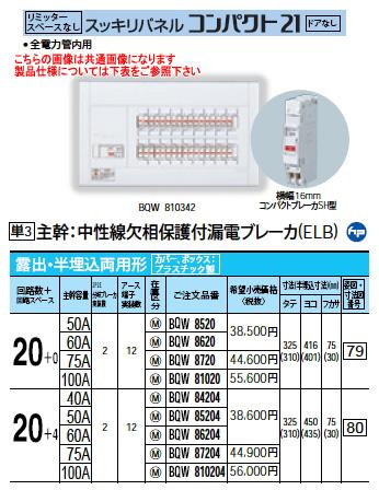 パナソニック Panasonic 電設資材住宅分電盤・分電盤スッキリパネル コンパクト21BQW86204