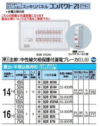 パナソニック Panasonic 電設資材住宅分電盤・分電盤スッキリパネル コンパクト21BQW8716