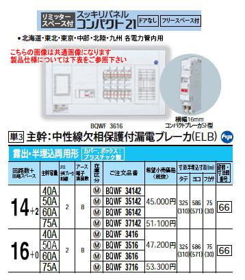 パナソニック Panasonic 電設資材住宅分電盤・分電盤スッキリパネル コンパクト21BQWF3416