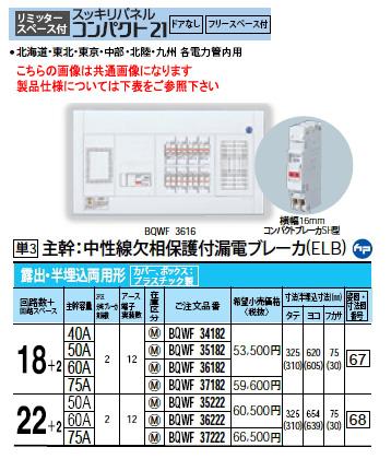 パナソニック Panasonic 電設資材住宅分電盤・分電盤スッキリパネル コンパクト21BQWF36182