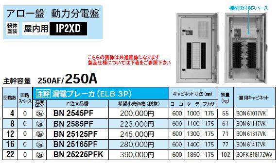 パナソニック Panasonic 電設資材アロー盤アロー盤 動力分電盤BN25225PFK