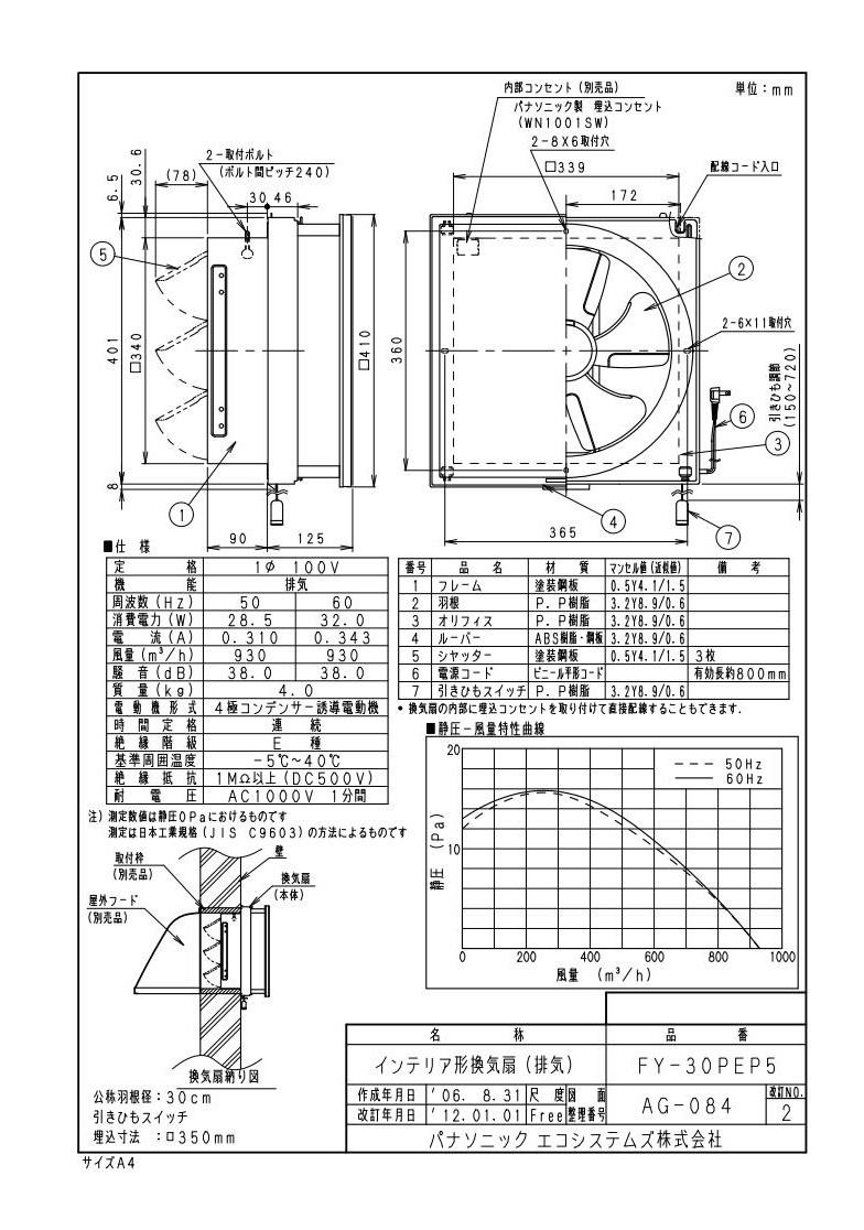 FY 30PEP5パナソニック Panasonic インテリア形換気扇 居室・店舗・事務所用スタンダード 排気・引きひも連動式シrCQxedBEoW