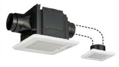 東芝 天井埋込形低騒音ダクト用換気扇2部屋用 ルーバーセット・スタンダード格子タイプ 高静圧形トイレ・洗面所・浴室用DVP-T14CLDP