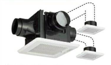 東芝 天井埋込形低騒音ダクト用換気扇2~3部屋用 ルーバーセット・スタンダード格子タイプ 高静圧形トイレ・洗面所・浴室用DVP-T14CLDPT