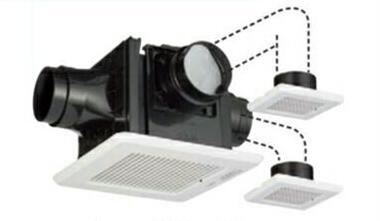 東芝 天井埋込形低騒音ダクト用換気扇DCモーター 2~3部屋用 ルーバーセット スタンダード格子タイプトイレ・洗面室・浴室用DVP-TD14CLDT