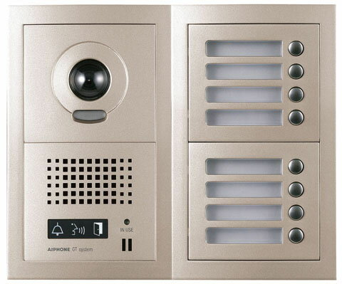 アイホン ビジネス向けインターホンテナントビル用テレビドアホン GTシステム8局用フルキー式カメラ付集合玄関機GT-8DM