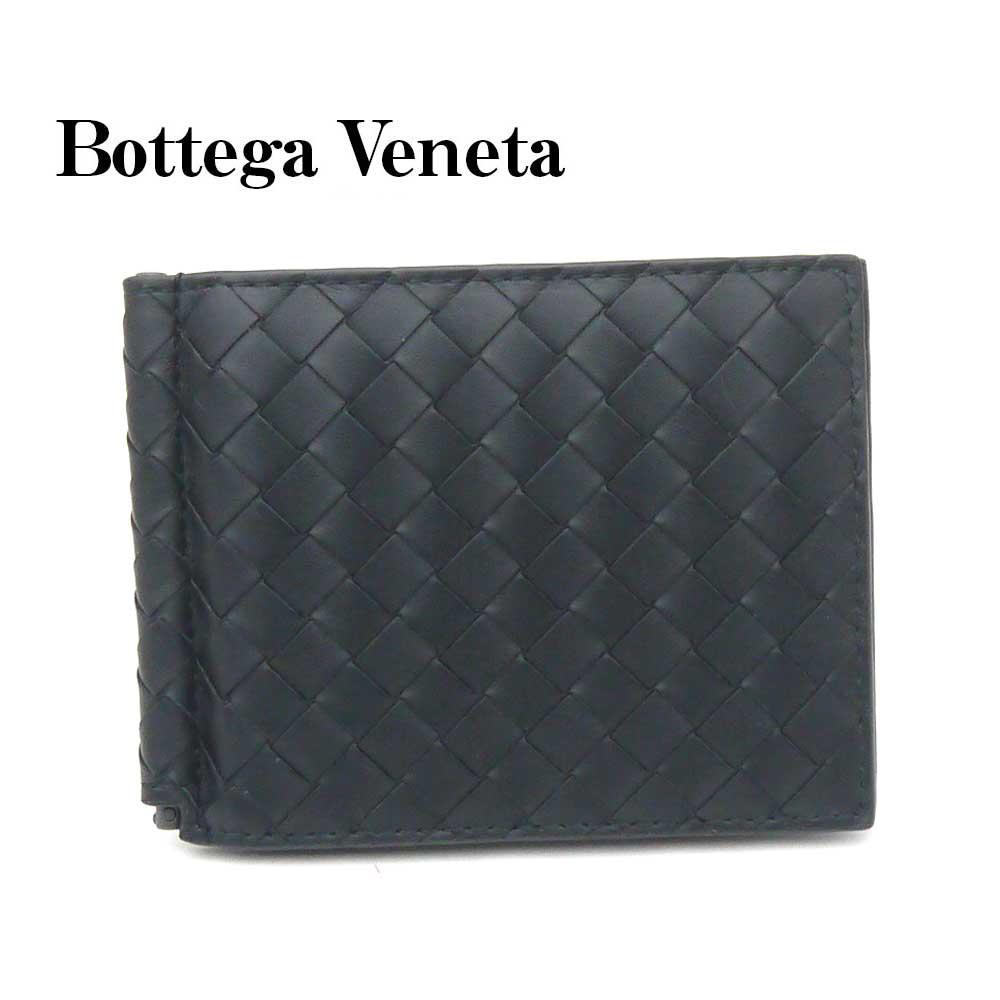 ボッテガ・ヴェネタ/BOTTEGA VENETA マネークリップ財布 イントレチャート123180-V4651-1000 ブラック【即発送可能】