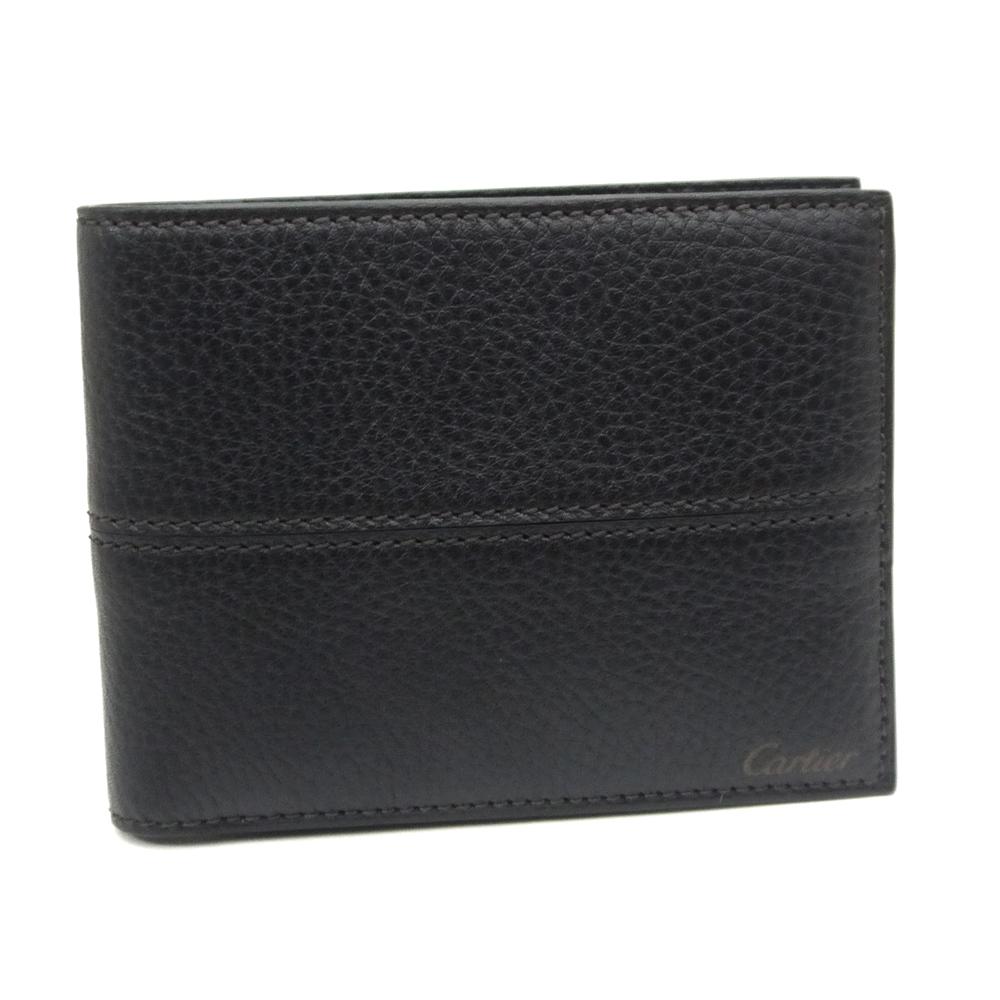 カルティエ/Cartier ・二つ折り財布・エボニー サドルステッチ・L3001262【即発送可能】