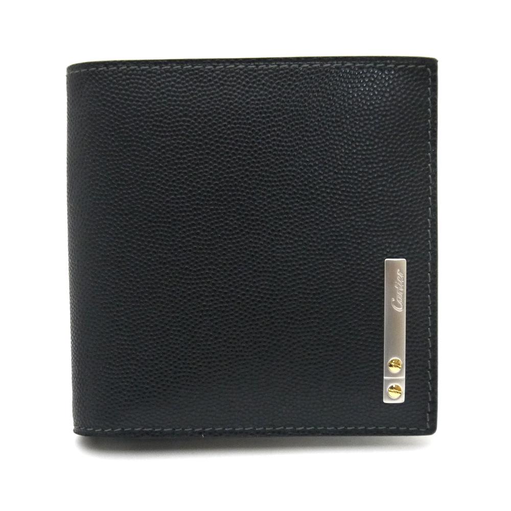 カルティエ/Cartier 二つ折り小銭入れ付財布・サントス・オニキス ・L3000772