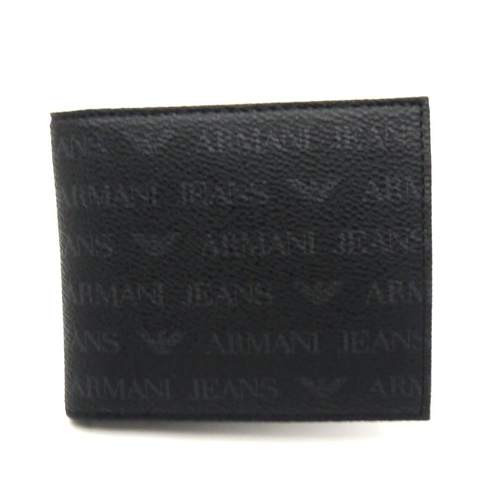 【送料無料】 【新品】【即発送可能】アルマーニ ジーンズ/ARMANI JEANS 二つ折り小銭入れ付き財布 06V2G J4 ブラック