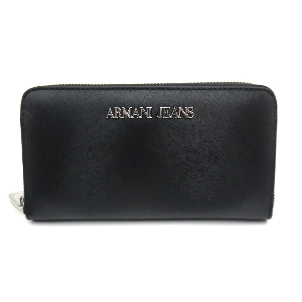 アルマーニ ジーンズ/ARMANI JEANS ラウンドファスナー長財布 928032 6A728 ブラック【即発送可能】