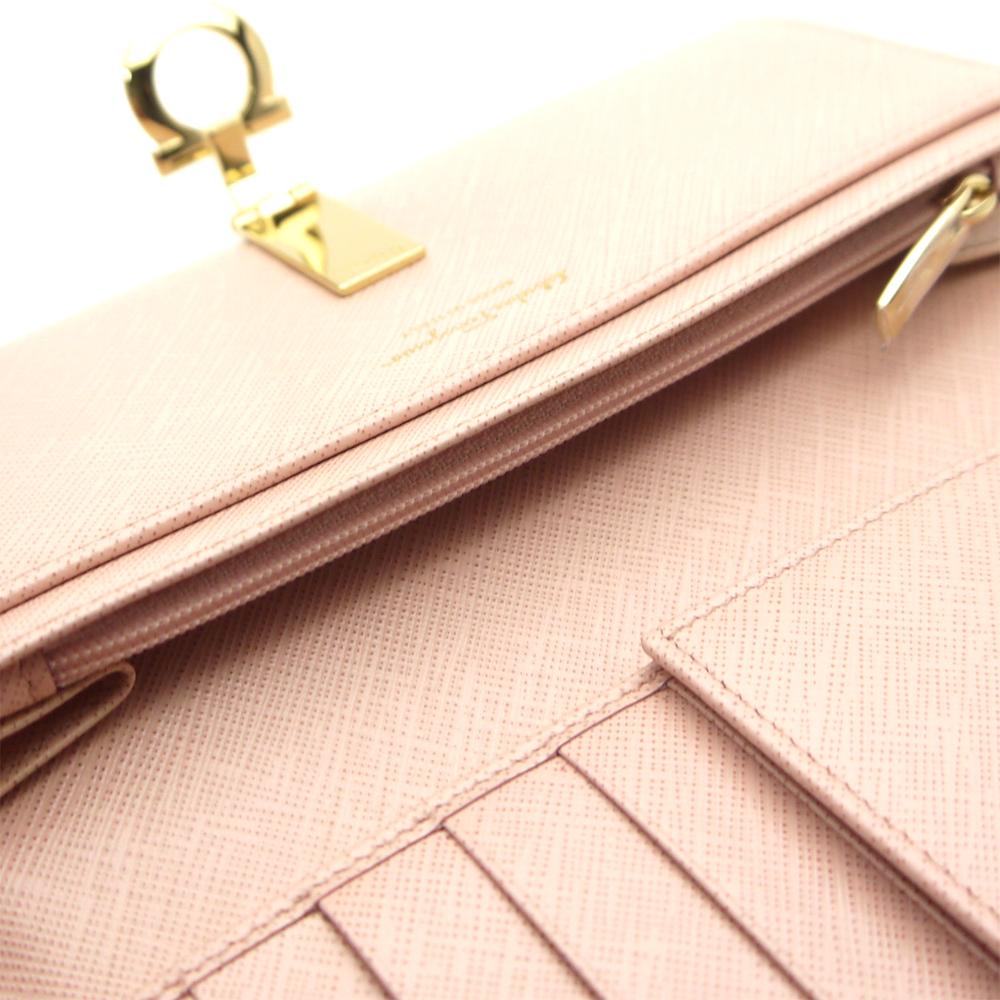 Ferragamo /Salvatore Ferragamo zipper wallet-22-4633 BONBON light pink